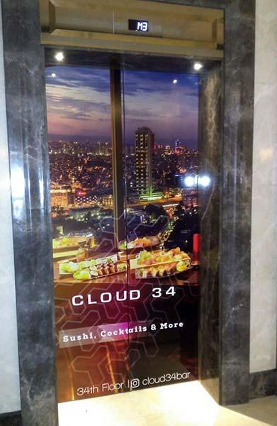 asansör kapısına baskı